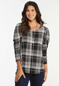 Plus Size Plaid Puff Print Top