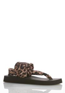 Leopard Stretch Band Flip Flops