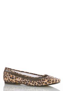 Leopard Mesh Inset Flats