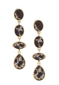 Leopard Fabric Linear Earrings
