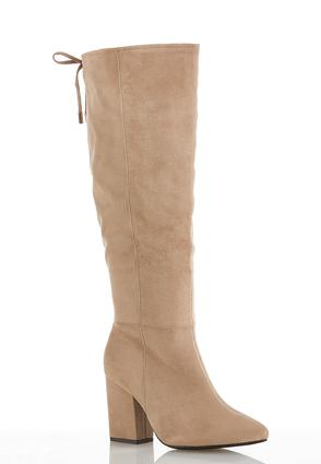 Faux Suede Tall Heeled Boots