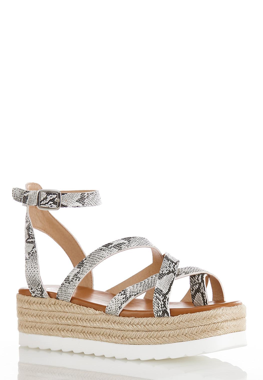 Strappy Snakeskin Flatform Sandals