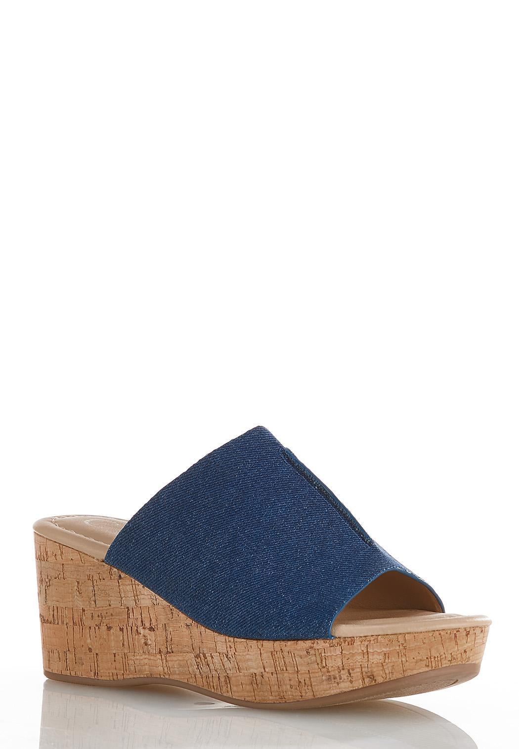 Denim Cork Wedge Sandals