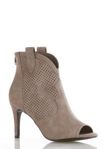 Perforated Open Toe Ankle Boots