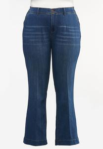 Plus Size Trouser Leg Jeans