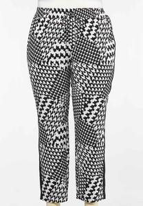 Plus Size Houndstooth Track Pants