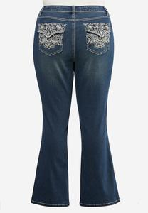 Plus Size Floral Embroidered Bootcut Jeans