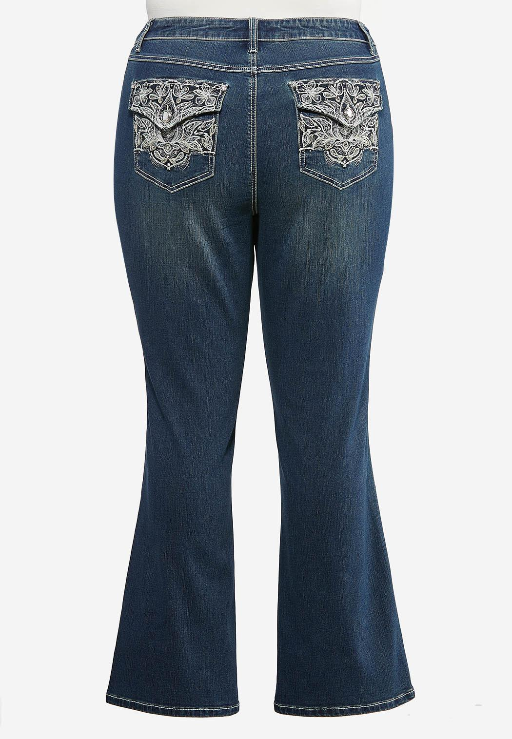 Plus Petite Floral Embroidered Bootcut Jeans