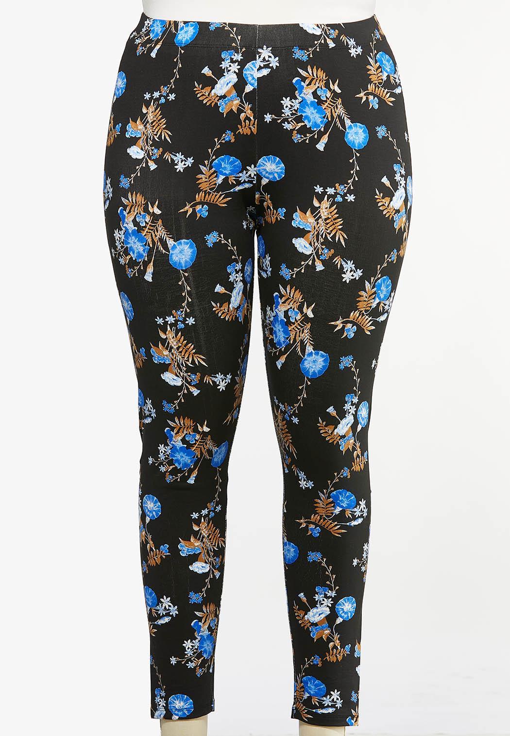 Plus Size Blue Floral Leggings