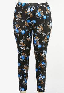 Plus Size Blue Floral Leggings