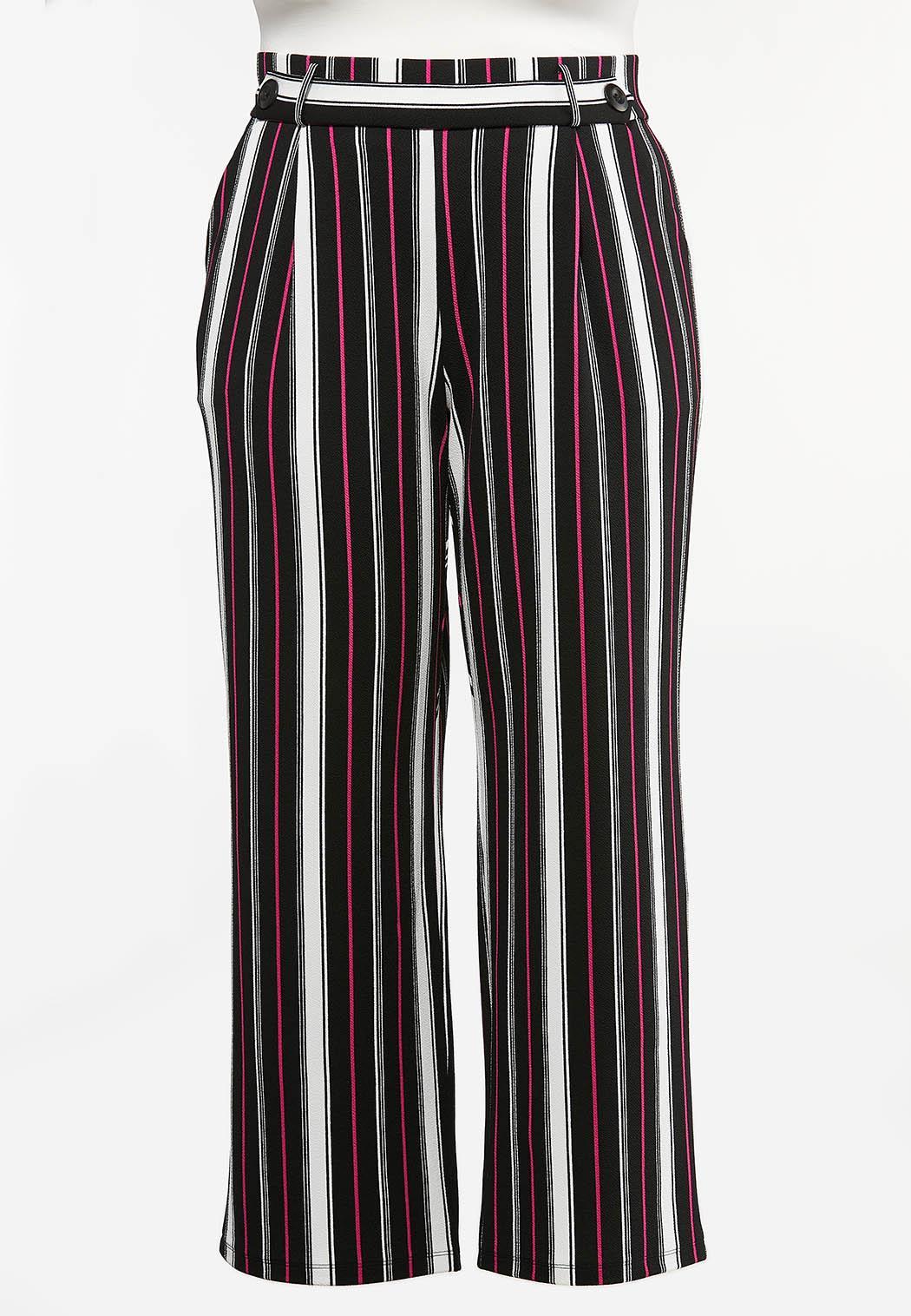 Plus Size Pink Stripe Wide Leg Pants