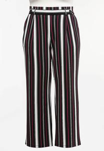 Plus Size Pink Stripe Wide Leg Pants