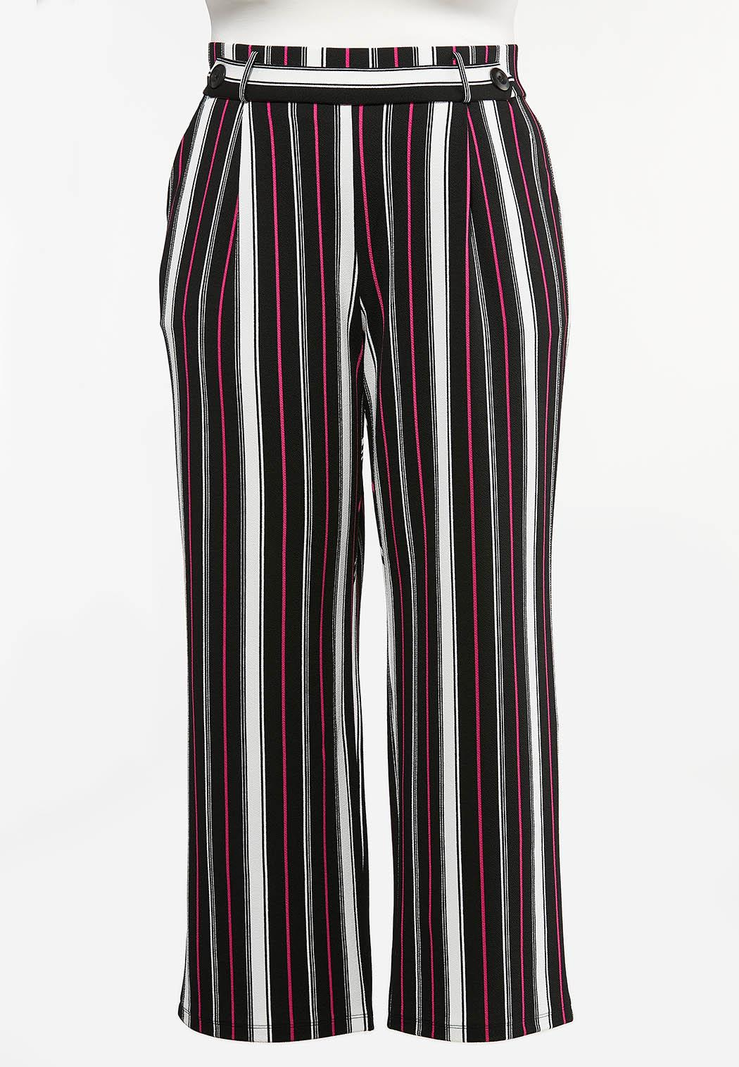 Plus Petite Pink Stripe Wide Leg Pants