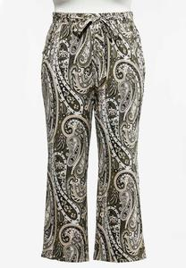 Plus Petite Size Green Paisley Wide Leg Pants