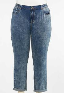 Plus Size Acid Wash Girlfriend Jeans