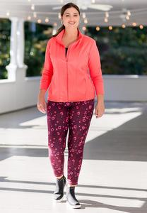 Plus Size Coral Leopard Leggings