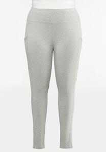 Plus Size Gray Two Pocket Leggings
