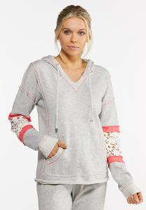 Plus Size Lace Inset Hoodie