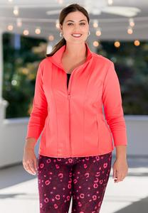 Plus Size Coral Zip Athleisure Jacket