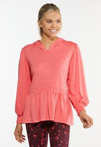 Plus Size Coral Peplum Hooded Top