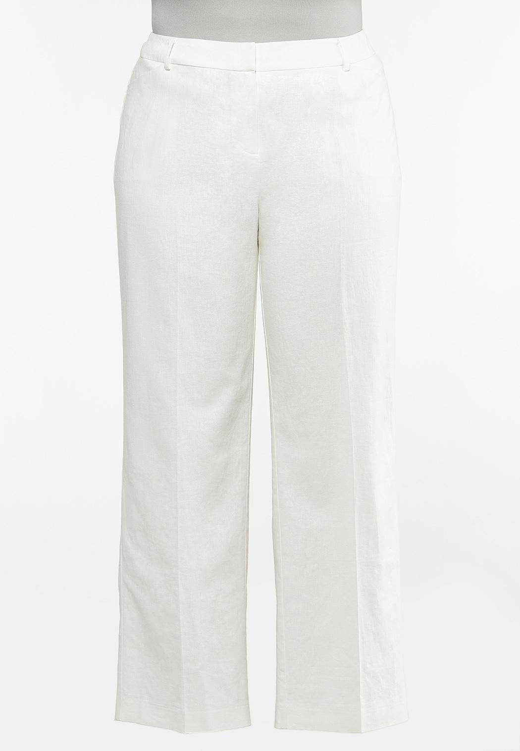 Plus Petite White Linen Trouser Pants