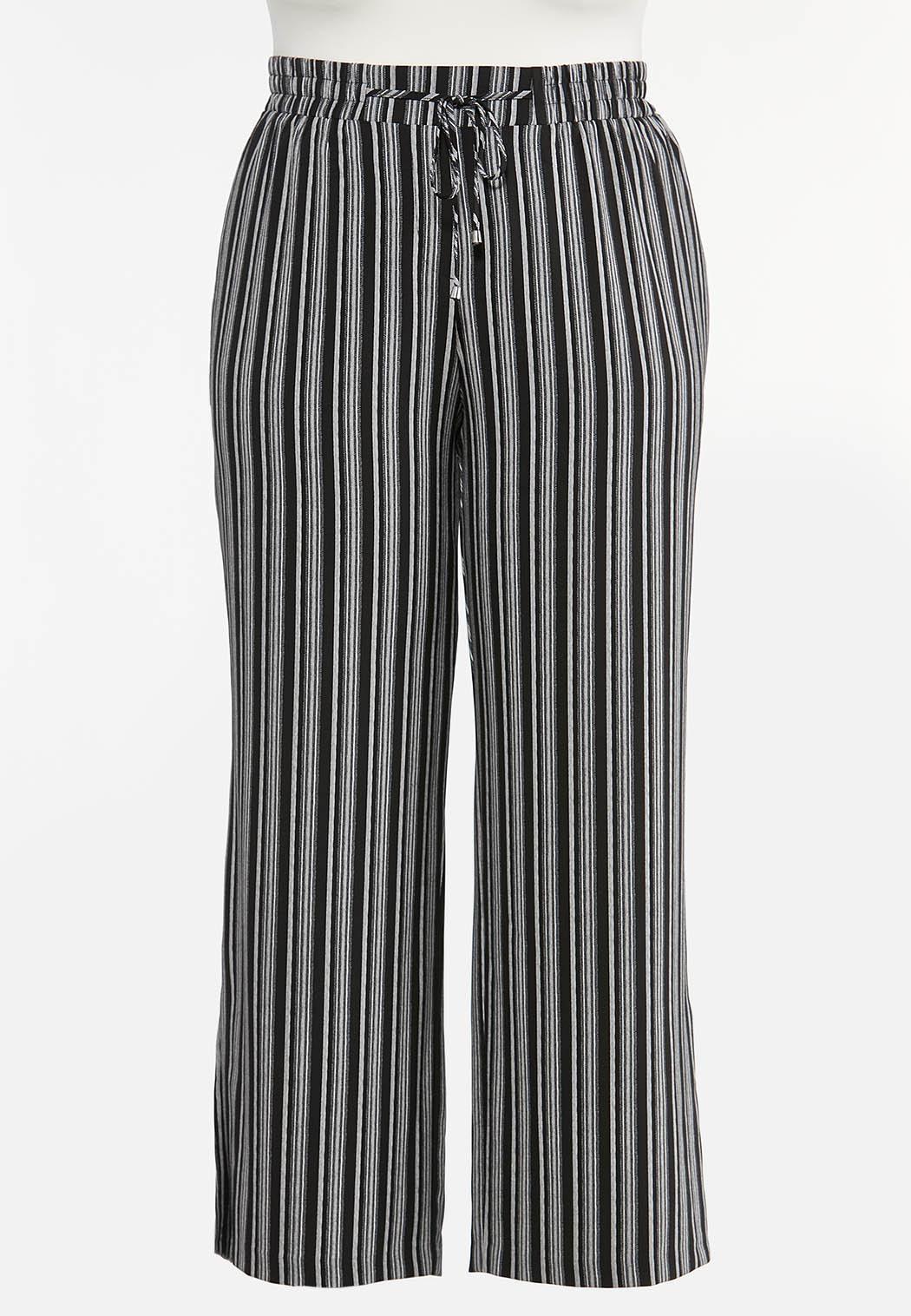 Plus Size Stripe Wide Leg Pants