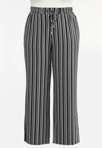 Plus Size Stripe Wide Leg Pants