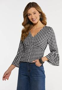 Plus Size Gingham Smocked Top