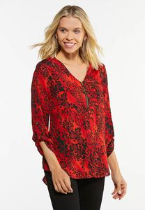 Plus Size Red Animal Print Top