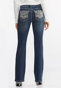 Petite Floral Embroidered Bootcut Jeans