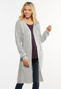 Plus Size Gray Cardigan Sweater