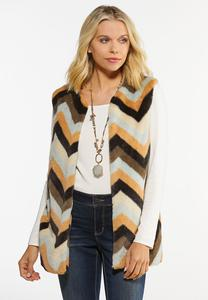 Plus Size Chevron Faux Fur Vest
