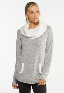 Plus Size Sherpa Cowl Neck Top