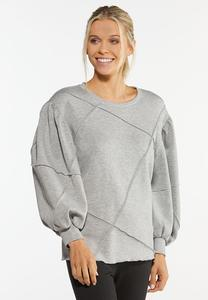 Plus Size Heather Puff Sleeve Top
