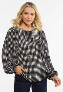 Plus Size Houndstooth Balloon Sleeve Top