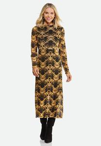 Plus Size Printed Mesh Midi Dress
