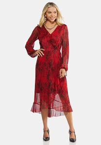 Snakeskin Print Faux Wrap Dress