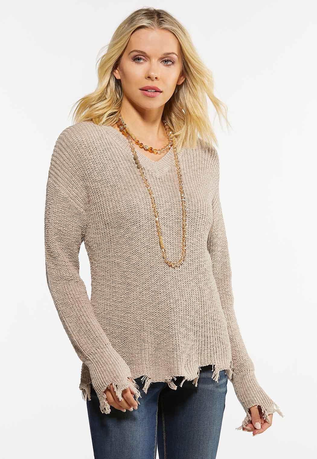 Distressed Pullover Sweater