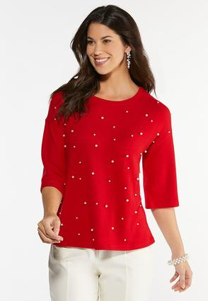 Pearl Embellished Hacci Top