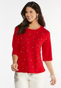 Plus Size Pearl Embellished Hacci Top