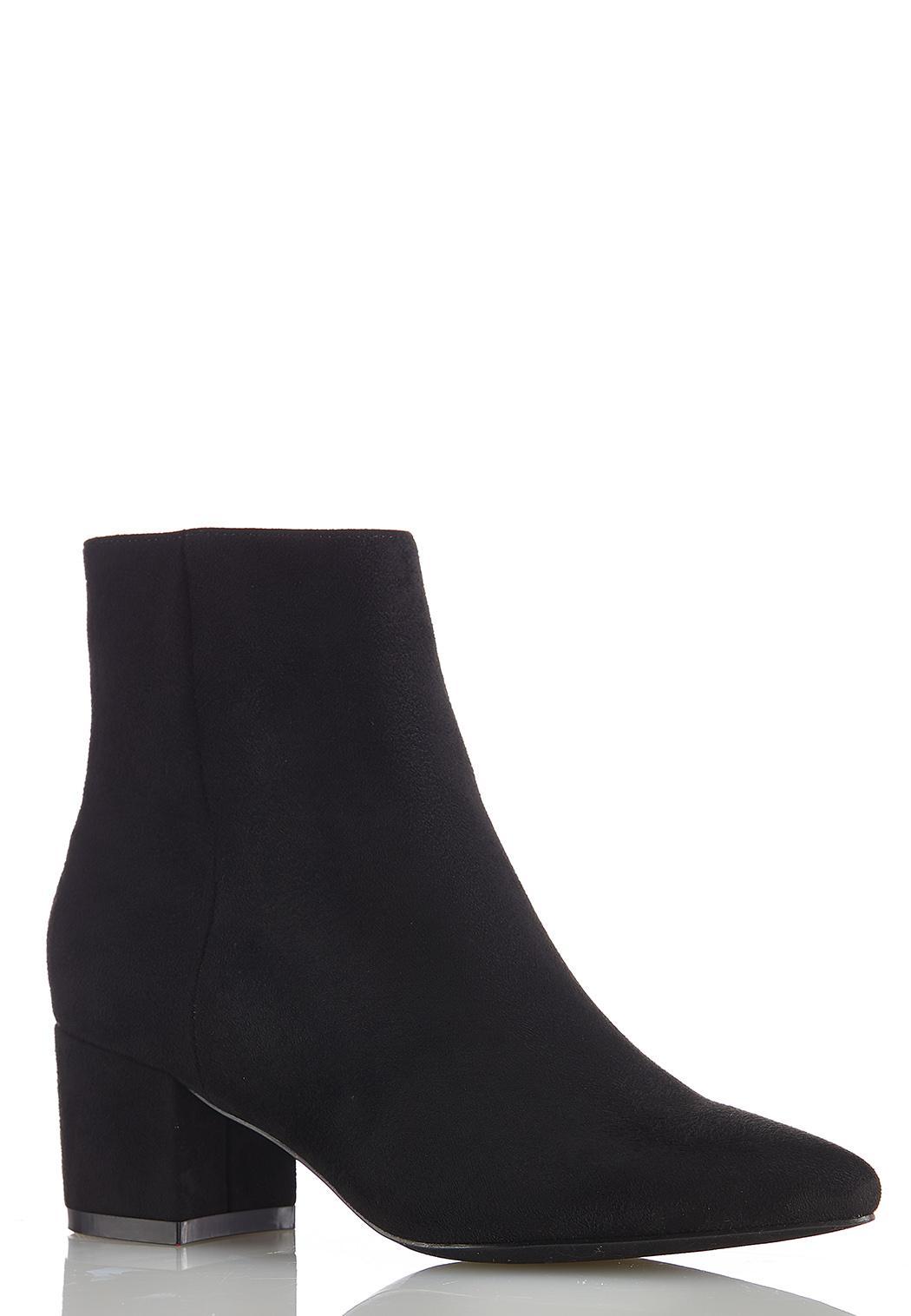 Wide Width Faux Suede Block Heel Boots