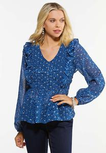 Plus Size Sparkle Dot Peplum Top