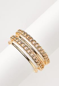 Mixed Chain Bangle Bracelet Set