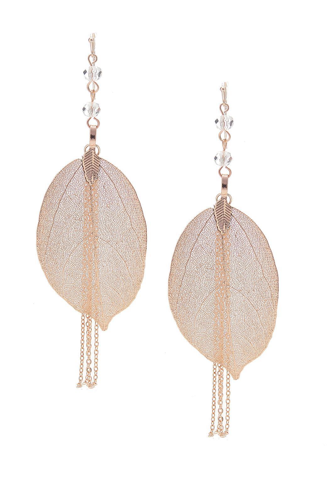 Delicate Tasseled Leaf Earrings