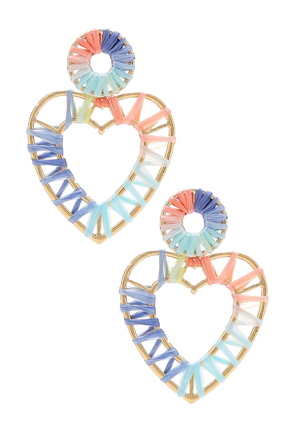 Rainbow Raffia Heart Earrings