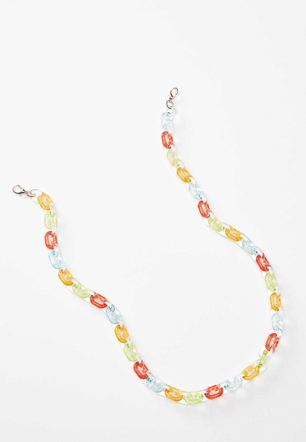 Rainbow Lucite Mask Chain