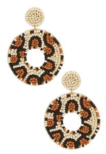 Leopard Seed Bead Earrings