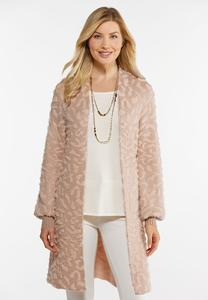 Plus Size Blush Leopard Cardigan Sweater
