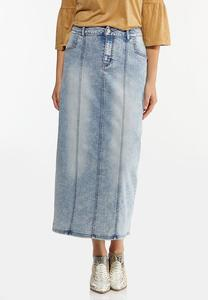 Plus Size Acid Wash Denim Skirt