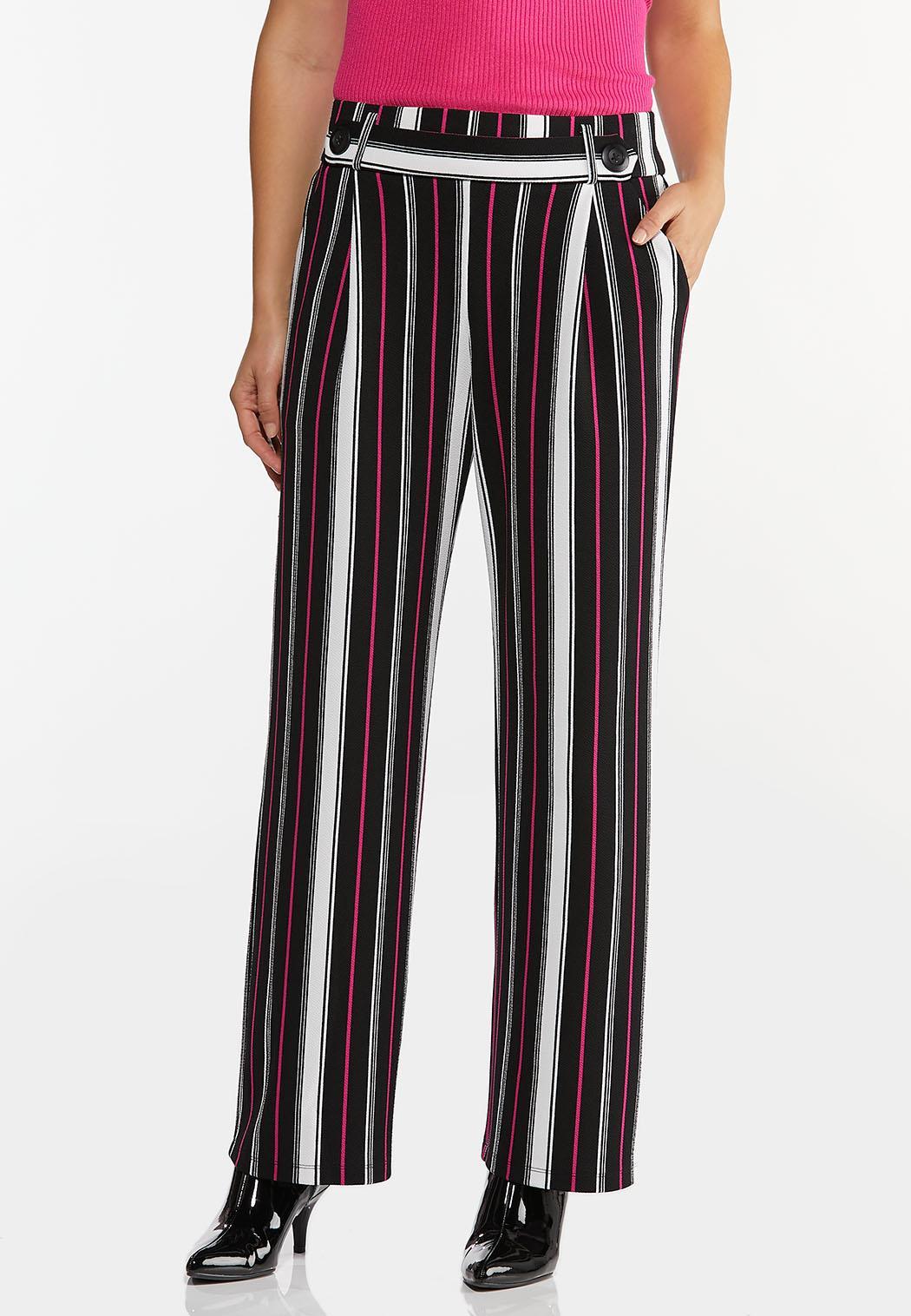 Petite Pink Stripe Wide Leg Pants